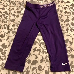 Purple Nike Crop Athletic Dri-fit Leggings